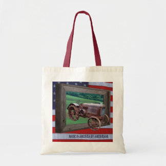 OLD TRACTOR DRIVING FROM FRAME-BAG TOTE BAG
