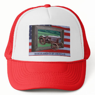 OLD TRACTOR DRIVING FROM FRAME-HAT TRUCKER HAT