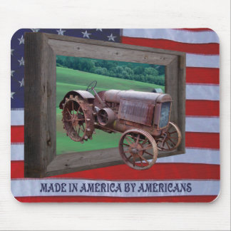 OLD TRACTOR DRIVING FROM FRAME -MOUSEPAD MOUSE PAD