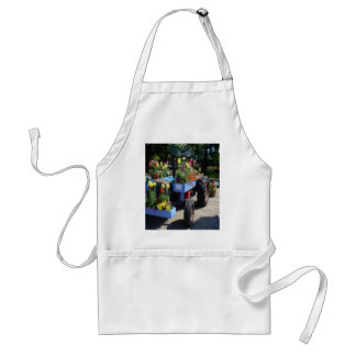 Old Tractor Floral Display Adult Apron