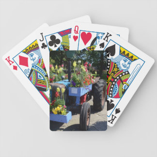 Old Tractor Floral Display Bicycle Playing Cards