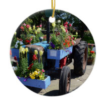Old Tractor Floral Display Ceramic Ornament