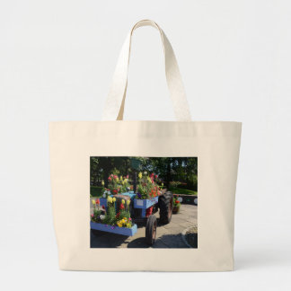 Old Tractor Floral Display Large Tote Bag