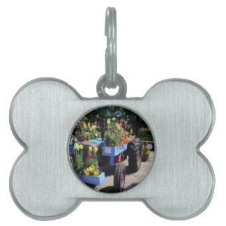 Old Tractor Floral Display Pet Tag