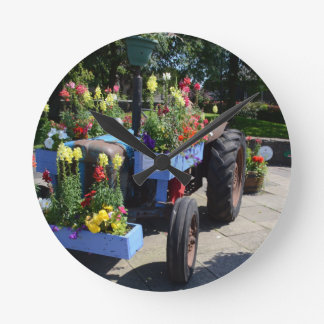 Old Tractor Floral Display Round Clock