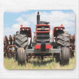 Old Tractor Front View With A Plow Outside Mouse Pad