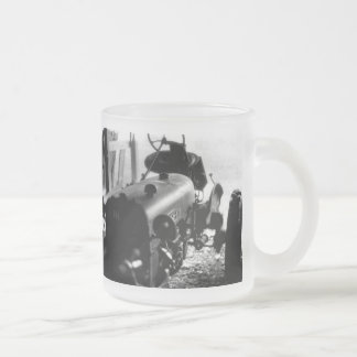 Old Tractor Frosted Glass Coffee Mug
