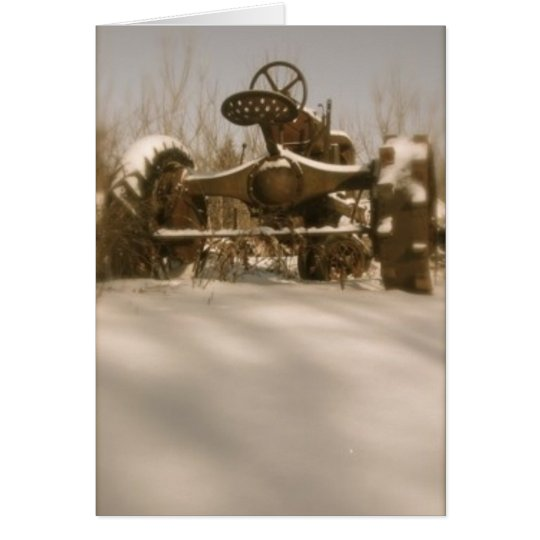 Old Tractor in Snow: Blank Card