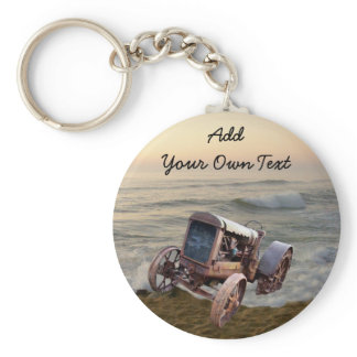 OLD TRACTOR IN SURF--KEYCHAIN KEYCHAIN