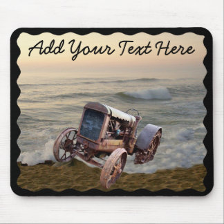 OLD TRACTOR IN SURF -MOUSEPAD MOUSE PAD