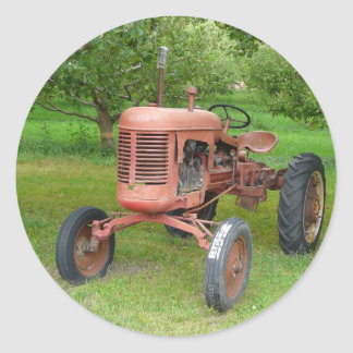 Old Tractor in the Orchard Classic Round Sticker