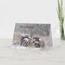 Old Tractor in the Snow Holiday Card