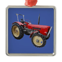 Old tractor metal ornament