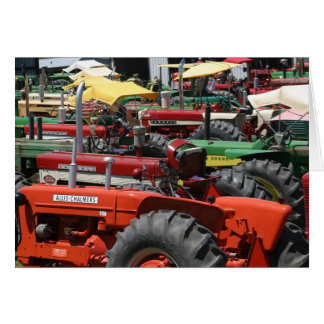 Old Tractor Note Card: Lots of colorful tractors