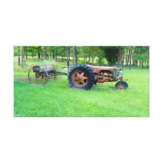 Old tractor on canvas