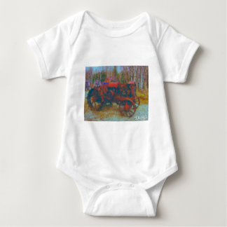 old tractor painting by hart baby bodysuit