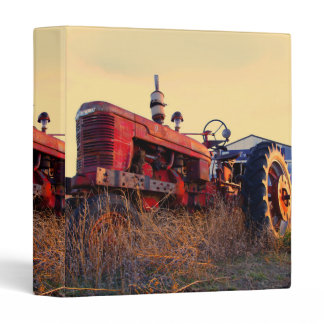 old tractor red machine vintage 3 ring binder