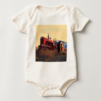 old tractor red machine vintage baby bodysuit