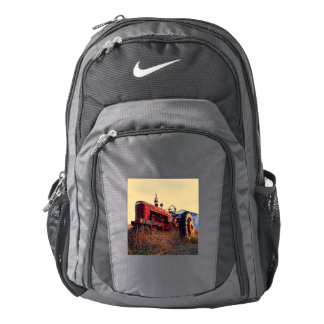 old tractor red machine vintage backpack