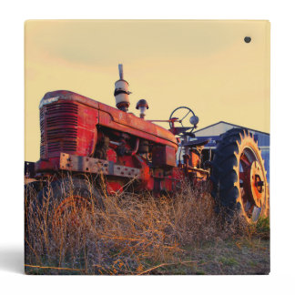 old tractor red machine vintage binder