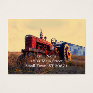 old tractor red machine vintage business card