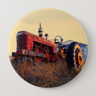 old tractor red machine vintage button