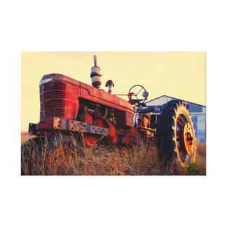 old tractor red machine vintage canvas print