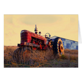 old tractor red machine vintage card