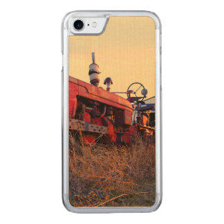 old tractor red machine vintage carved iPhone 7 case