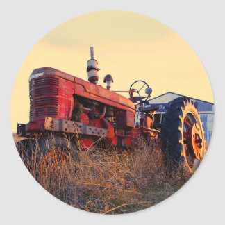 old tractor red machine vintage classic round sticker