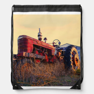 old tractor red machine vintage drawstring backpack