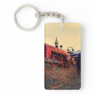 old tractor red machine vintage keychain