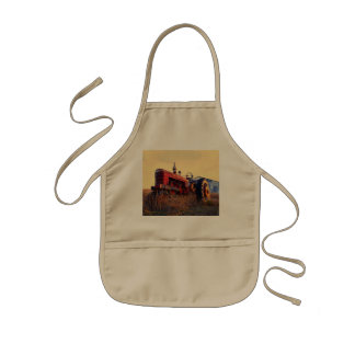 old tractor red machine vintage kids' apron