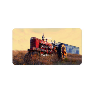 old tractor red machine vintage label