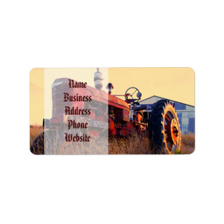old tractor red machine vintage address label