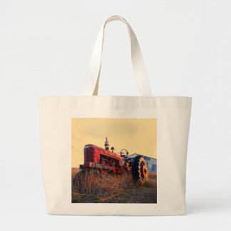 old tractor red machine vintage large tote bag