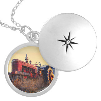 old tractor red machine vintage locket necklace