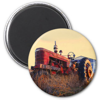 old tractor red machine vintage magnet