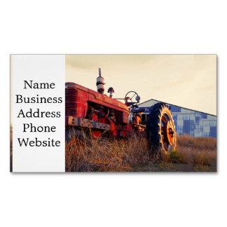 old tractor red machine vintage magnetic business card