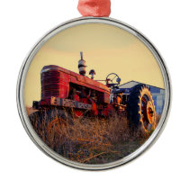 old tractor red machine vintage metal ornament