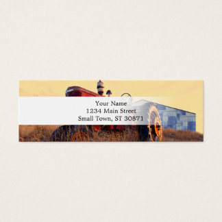 old tractor red machine vintage mini business card