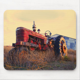 old tractor red machine vintage mouse pad