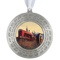 old tractor red machine vintage ornament