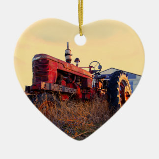 old tractor red machine vintage Double-Sided heart ceramic christmas ornament