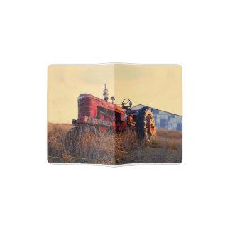 old tractor red machine vintage passport holder