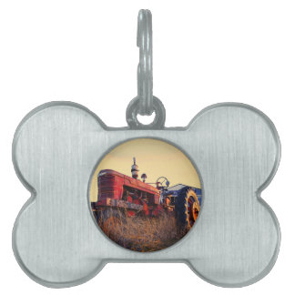 old tractor red machine vintage pet ID tag