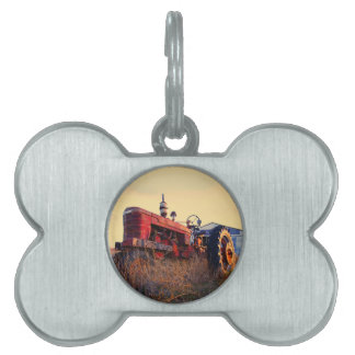old tractor red machine vintage pet tag
