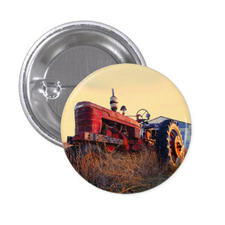 old tractor red machine vintage pinback button