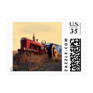 old tractor red machine vintage postage