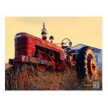 old tractor red machine vintage postcard